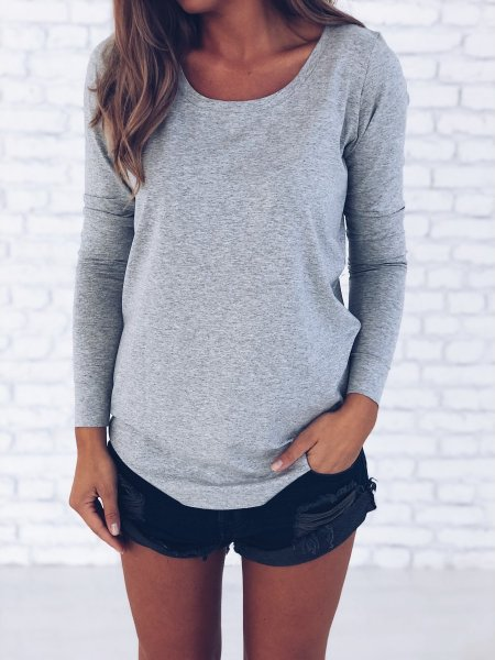 Tričko s dlouhým rukávem - Šedé melé