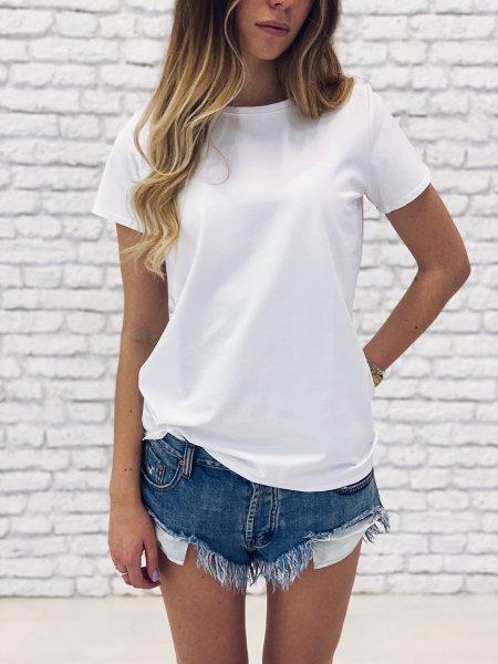 Bavlněné basic tričko - Bílé
