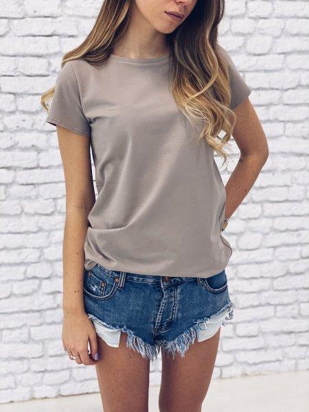 Bavlněné basic tričko - Pískové
