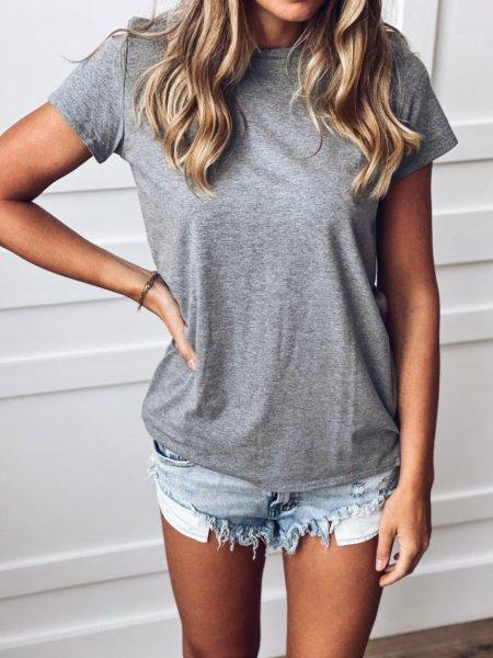 Bavlněné tričko - Tmavě šedé melé
