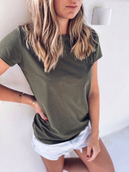 Bavlněné tričko - Khaki