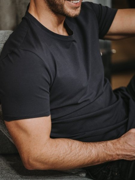 Bavlněné basic tričko - Tmavě šedé