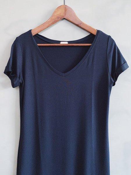 Basic šaty do V - Tmavě modré