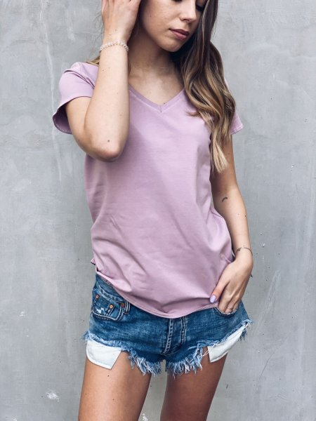 Bavlněné tričko do V - Růžové