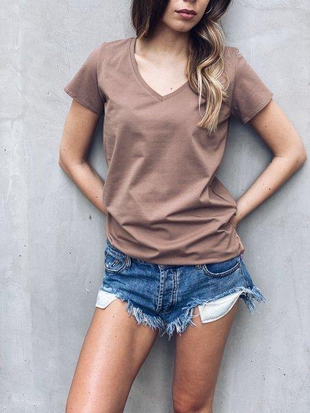 Bavlněné tričko do V - Camel