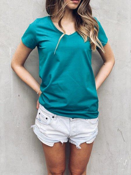 Bavlněné basic tričko do V - Tyrkysové