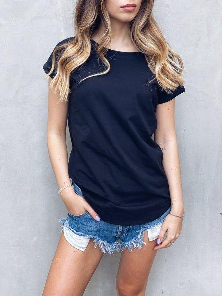 Bavlněné tričko one size - Černé