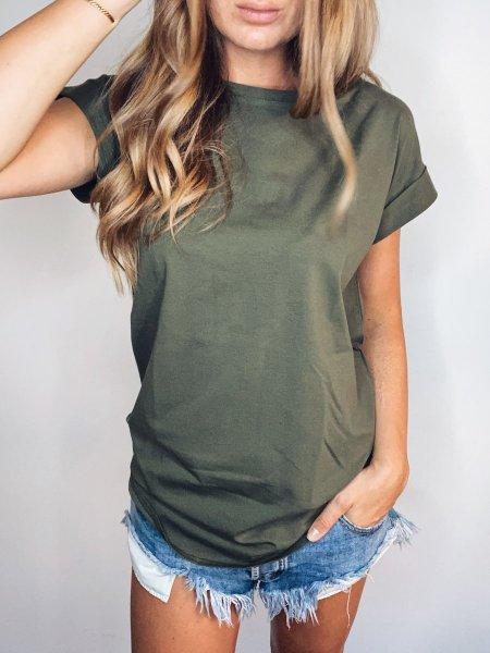 Bavlněné basic tričko - Khaki One size