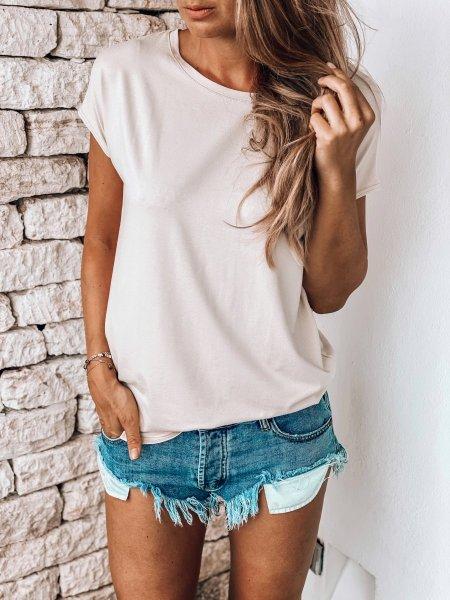 Basic tričko one size - Pudrové