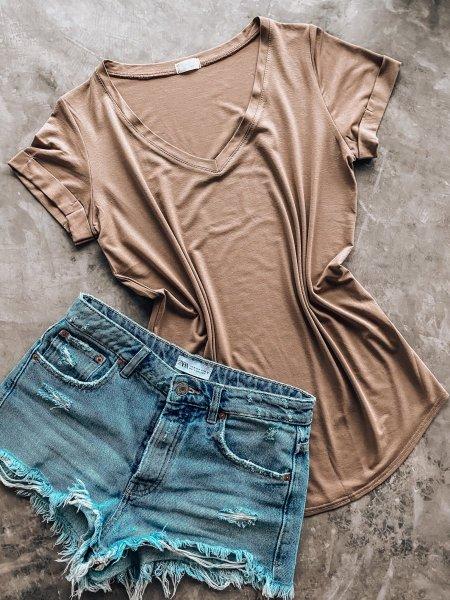 Basic tričko do V - Béžové