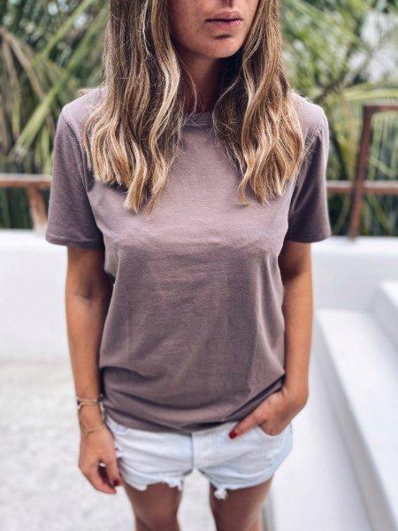 Bavlněné basic tričko - Světle hnědé