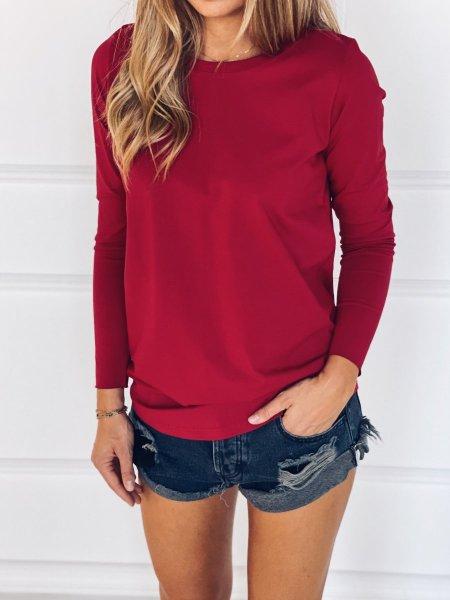 Bavlněné tričko s dlouhým rukávem - Červené