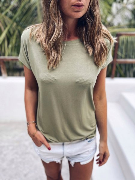 Basic tričko one size - Světlá khaki (bambus)