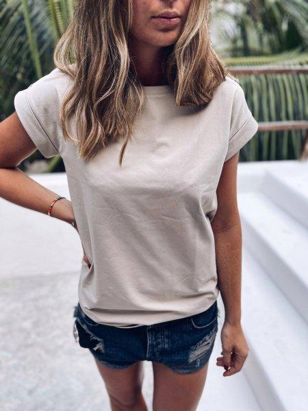 Bavlněné tričko one size - Sv. krémová