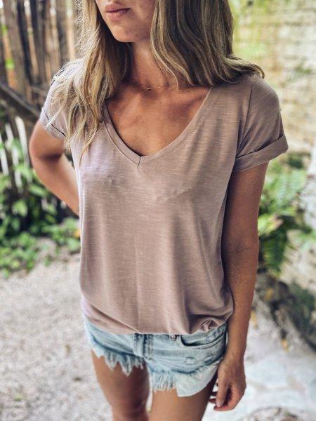 Basic tričko do V - Růžové