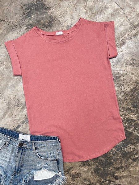 Bavlněné tričko one size - Dusty mauve