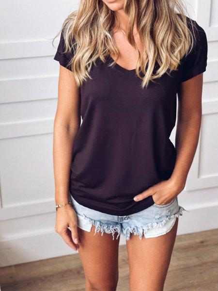 Basic tričko do V - Tmavě hnědé