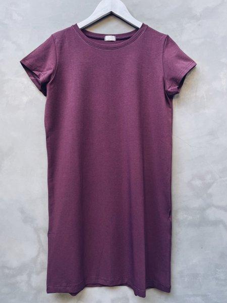Basic šaty bavlněné - Dusty bordó