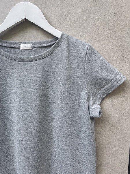 Basic šaty bavlněné - Světle šedý melír