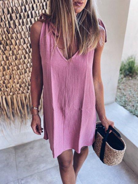 Letní šaty - Růžové (mušelín)