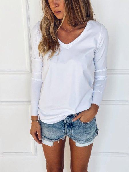 Bavlněné tričko s dlouhým rukávem do V - Bílé