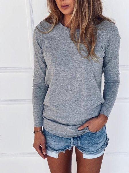 Bavlněné tričko s dlouhým rukávem - Šedé melé