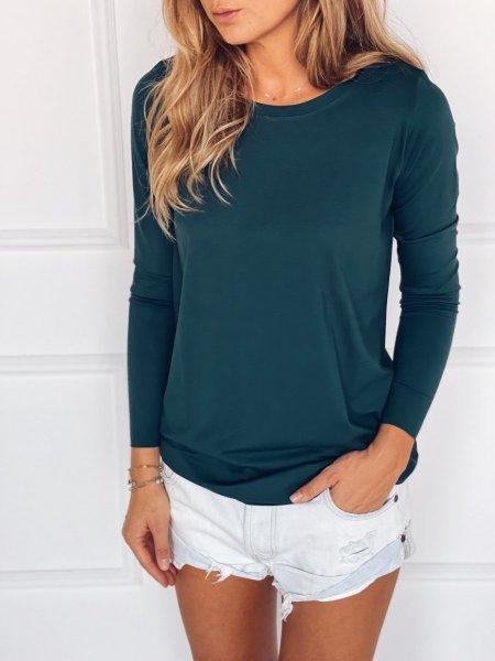 Tričko s dlouhým rukávem - Tmavě zelené