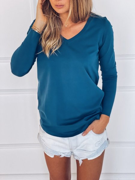 Tričko s dlouhým rukávem do V - Modré