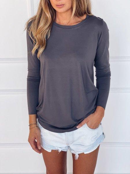 Tričko s dlouhým rukávem - Tmavě šedé