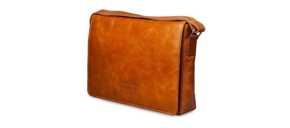 Kožená messenger bag taška - světle hnědá full-grain kůže