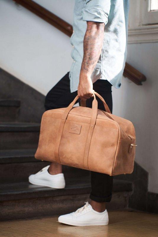 Pánská taška na víkend - světle hnědá kůže