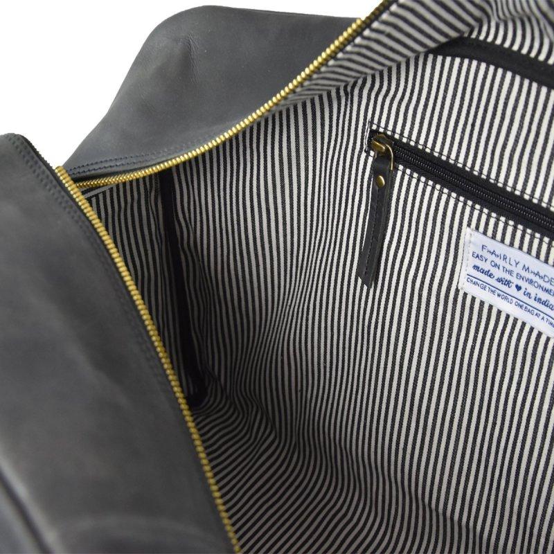 Cestovní kožená taška OTIS - černá ECO-black