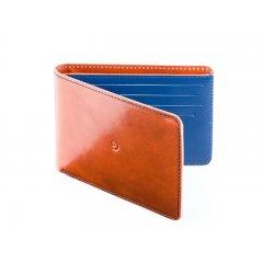 Pánská slim kožená peněženka - hnědomodrá