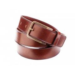 Pánský kožený pásek s prošíváním - tmavě hnědý