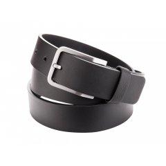 Pánský kožený pásek bez prošívání - černý