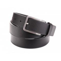Pánský kožený pásek s prošíváním - černý