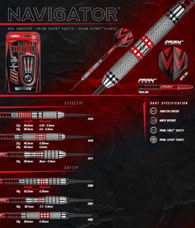 Set šípky Winmau NAVIGATOR 90% 21g steel