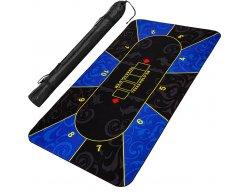 Poker podložka čierno-modrá 160x80cm rolovacia v obale