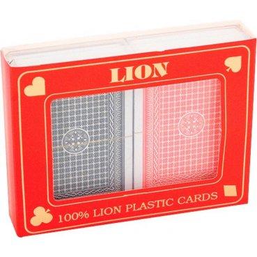 Plastové karty na poker LION 100% 2 balíčky