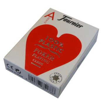 Pokrové karty Fournier Jumbo 100% plastové červené