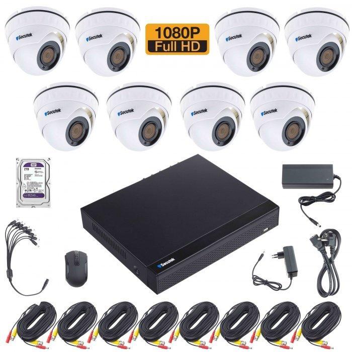 Kamerarendszer Secutek XVR2008DB20 2TB HDD-vel - 8x beltéri dome kamera, 1080P