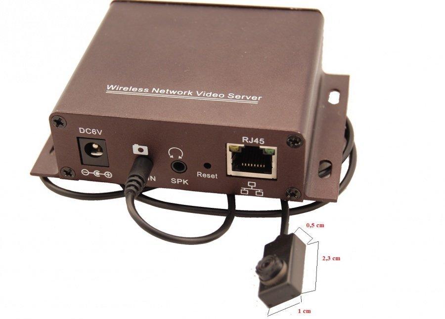 Bezdrátový IP audio/video server + knoflíková kamera