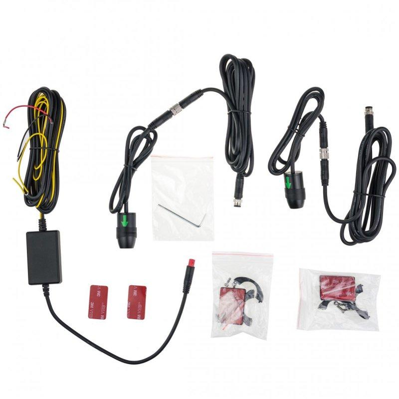 Duales Full-HD-Kamerasystem D2P-WiFi für Auto oder Motorrad - 2 Kameras, LCD-Monitor