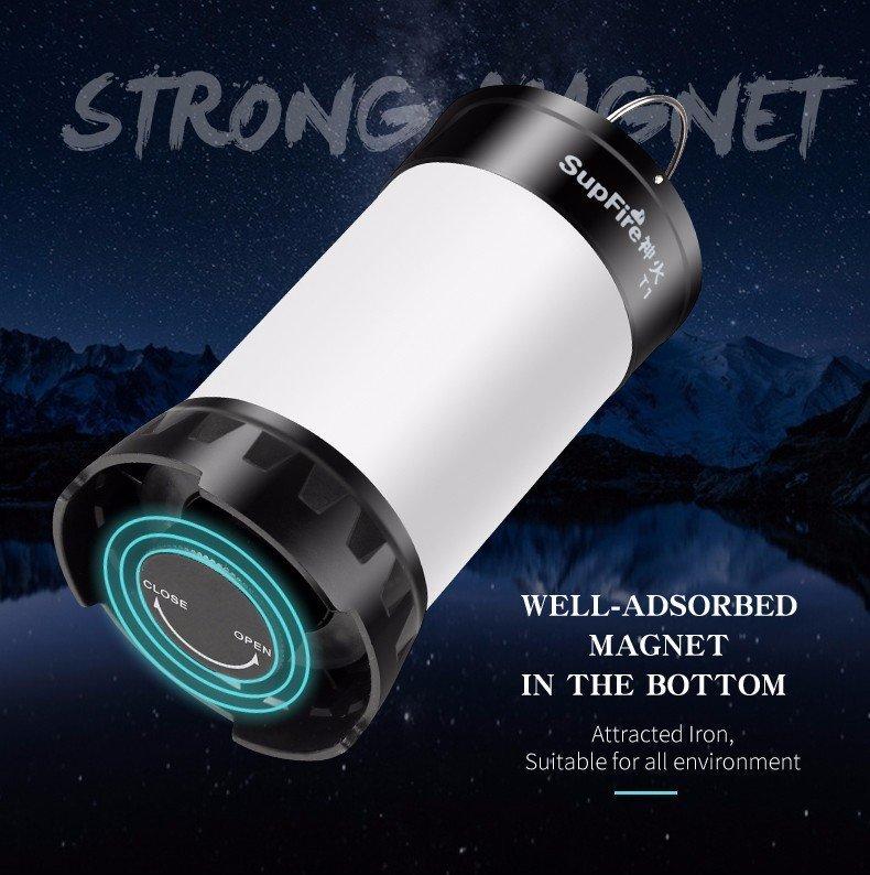 Supfire T1 LED къмпинг лампа LatticeBright SMD2835 LED 450lm, USB, Li-ion