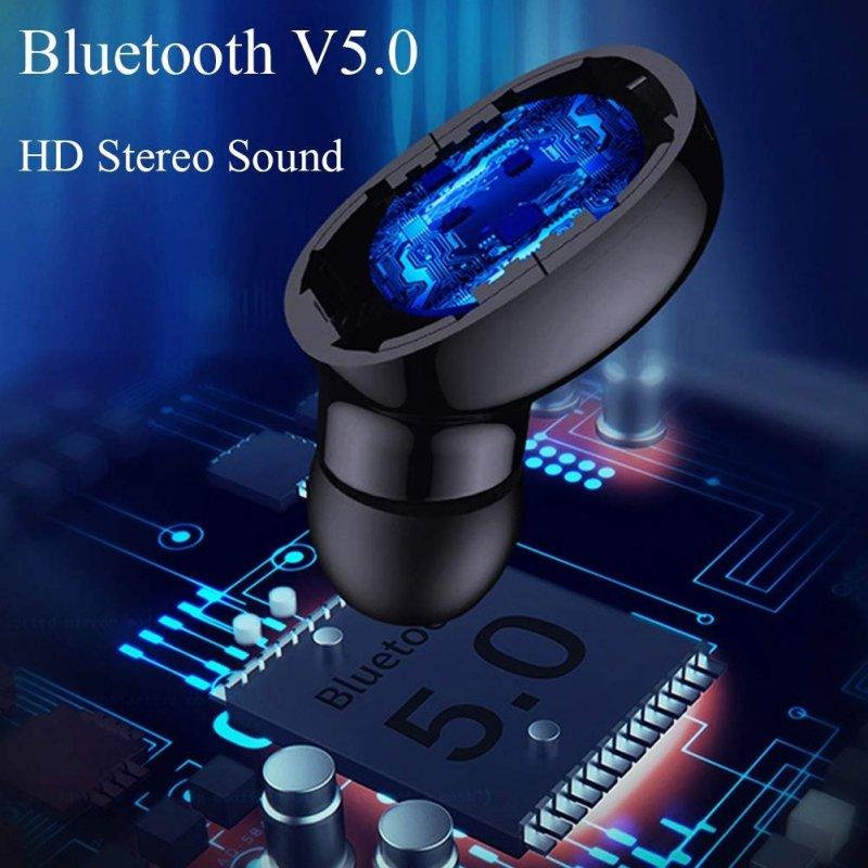 Безжични слушалки E6S с Bluetooth 5.0 и калъф за зареждане - син