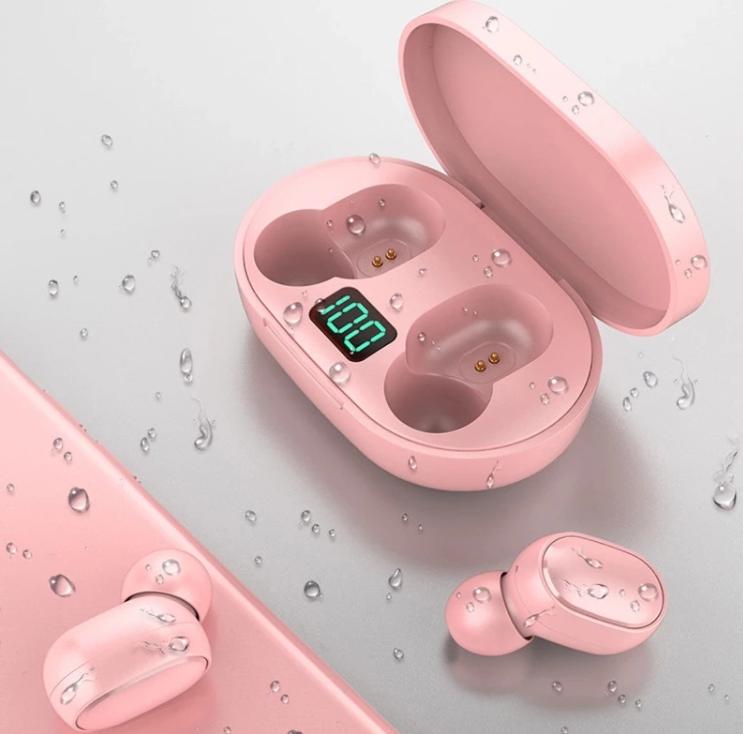 Безжични слушалки E6S с Bluetooth 5.0 и калъф за зареждане- розов
