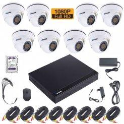Kamerový set Secutek SLG-XVR2008DB20 včetně 2TB HDD - 8x vnitřní dome kamery, 1080P