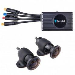 Двойна Full HD система от камери Secutek C-M2WW за кола или мотоциклет - 2 камери 170°, LCD монитор
