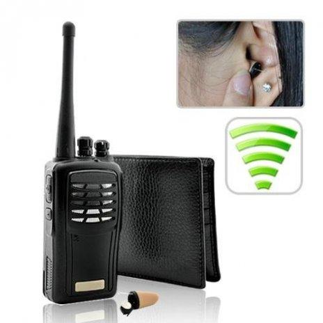 Vysílačka + transmitter v peněžence pro mikrosluchátko