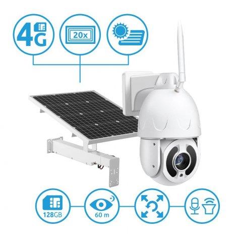 4G PTZ IP Kamera Secutek SBS-NC67G-20X mit Solarladung - 1080p, 60m IR, 20x zoom
